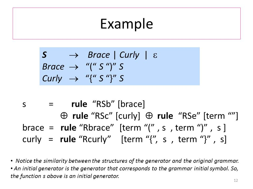 Example 12 S  Brace | Curly |  Brace  ( S ) S Curly  { S } S s = rule RSb [brace]  rule RSc [curly]  rule RSe [term ] brace = rule Rbrace [term ( , s, term ) , s ] curly = rule Rcurly [term { , s, term } , s] Notice the similarity between the structures of the generator and the original grammar.