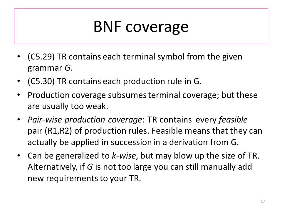 BNF coverage (C5.29) TR contains each terminal symbol from the given grammar G.