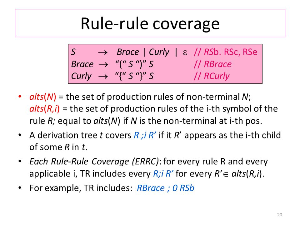 Rule-rule coverage alts(N) = the set of production rules of non-terminal N; alts(R,i) = the set of production rules of the i-th symbol of the rule R; equal to alts(N) if N is the non-terminal at i-th pos.