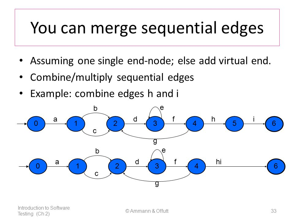 © Ammann & Offutt33 You can merge sequential edges Assuming one single end-node; else add virtual end.