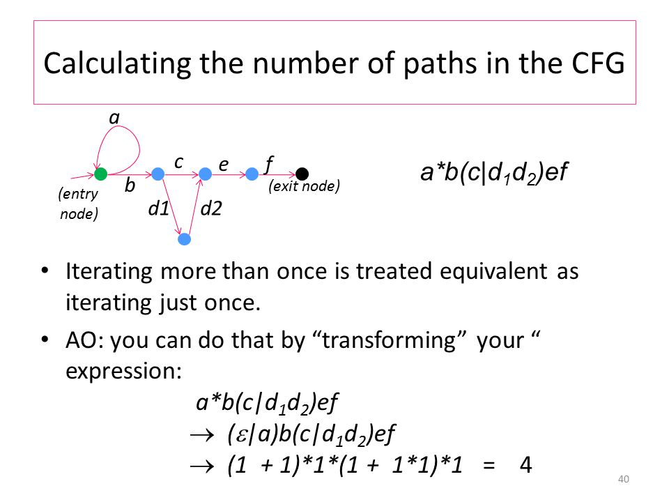 Calculating the number of paths in the CFG Iterating more than once is treated equivalent as iterating just once.