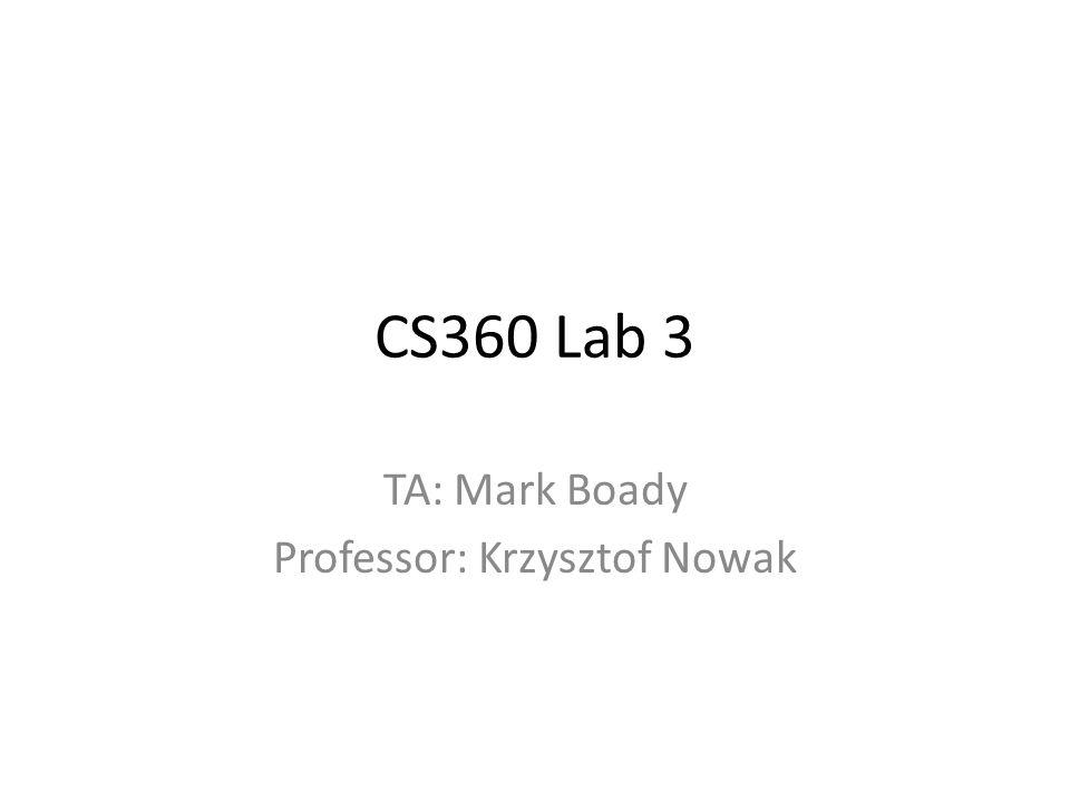 CS360 Lab 3 TA: Mark Boady Professor: Krzysztof Nowak