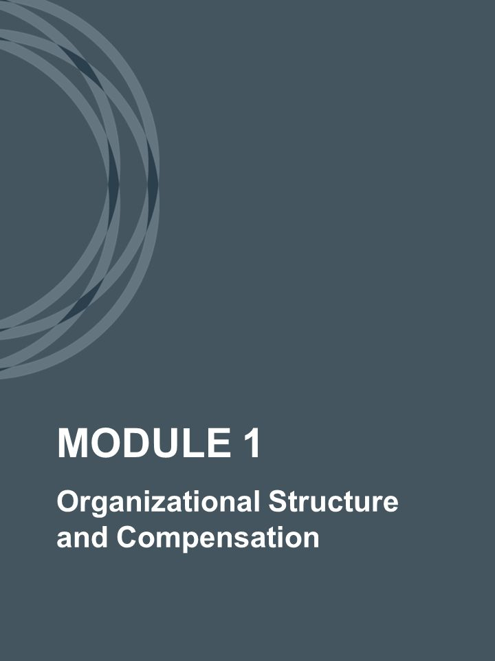 Organizational Structure and Compensation MODULE 1