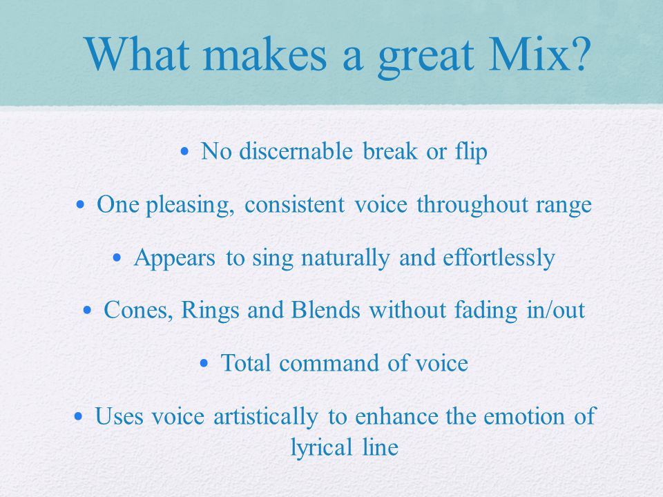 What makes a great Mix.