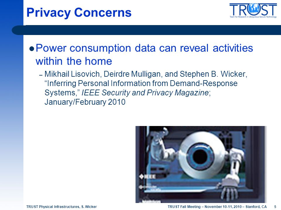 5 TRUST Fall Meeting – November 10-11, 2010 – Stanford, CA Power consumption data can reveal activities within the home – Mikhail Lisovich, Deirdre Mu