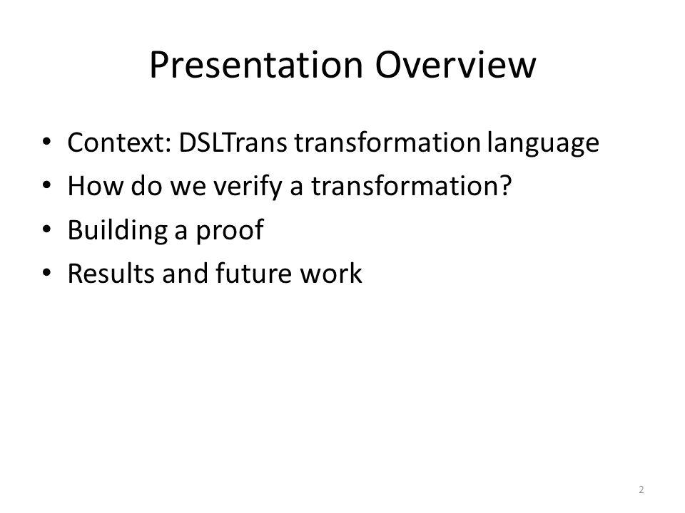 Presentation Overview Context: DSLTrans transformation language Intuition: what properties can we verify.