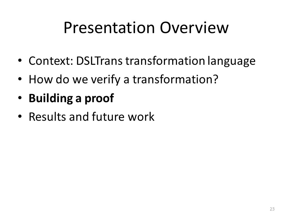 Presentation Overview Context: DSLTrans transformation language How do we verify a transformation.