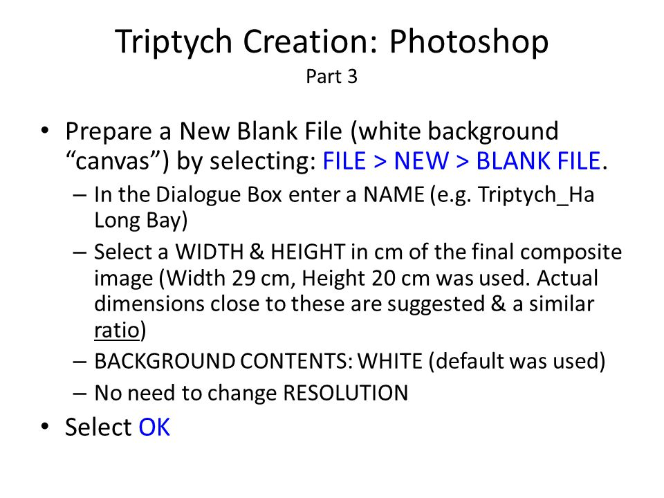 """Triptych Creation: Photoshop Part 3 Prepare a New Blank File (white background """"canvas"""") by selecting: FILE > NEW > BLANK FILE. – In the Dialogue Box"""