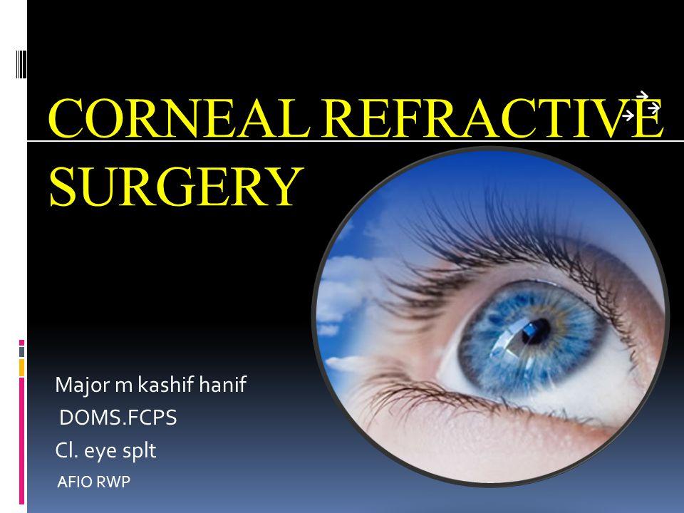 CORNEAL REFRACTIVE SURGERY Major m kashif hanif DOMS.FCPS Cl. eye splt AFIO RWP