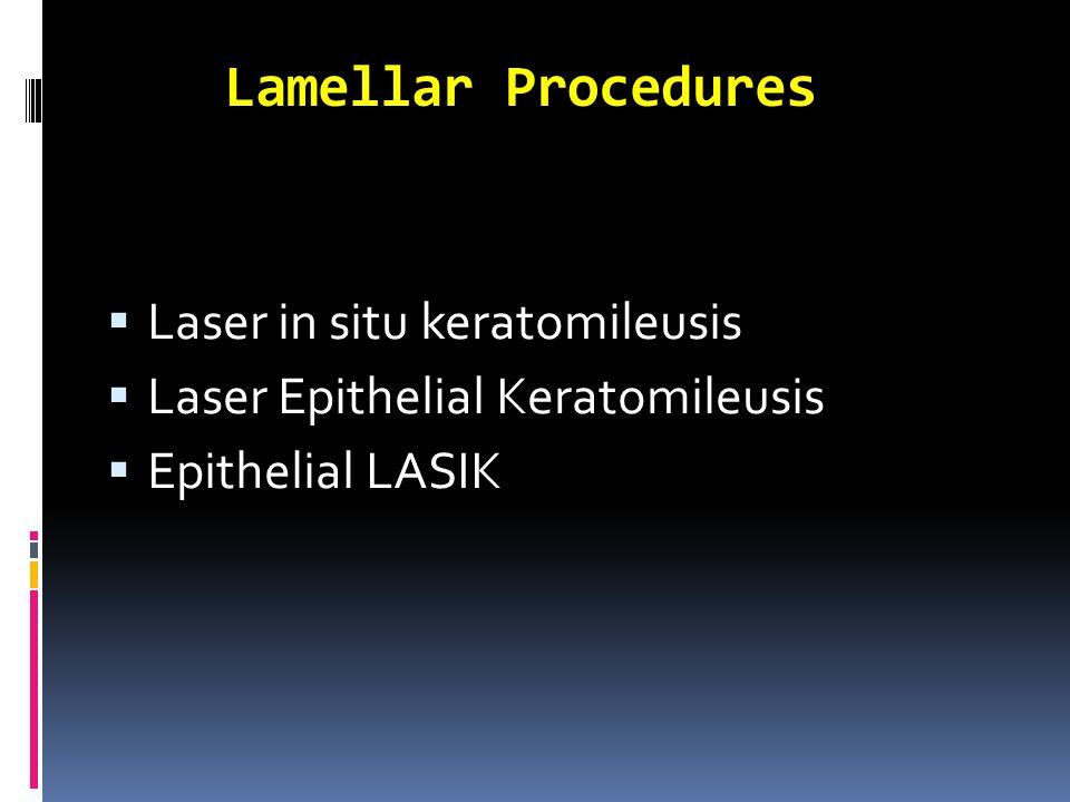 Lamellar Procedures  Laser in situ keratomileusis  Laser Epithelial Keratomileusis  Epithelial LASIK