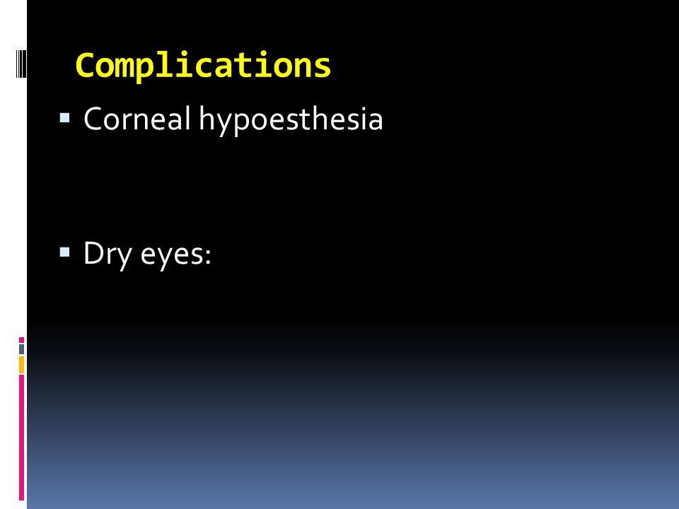  Corneal hypoesthesia  Dry eyes: Complications
