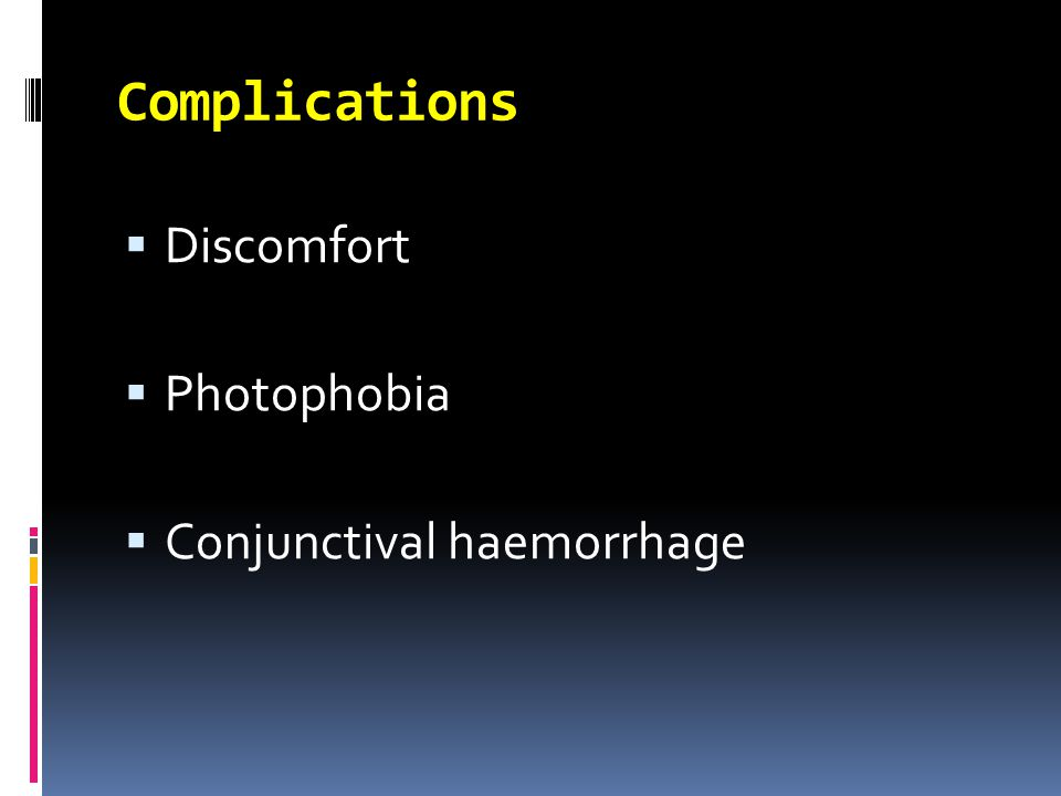  Discomfort  Photophobia  Conjunctival haemorrhage Complications