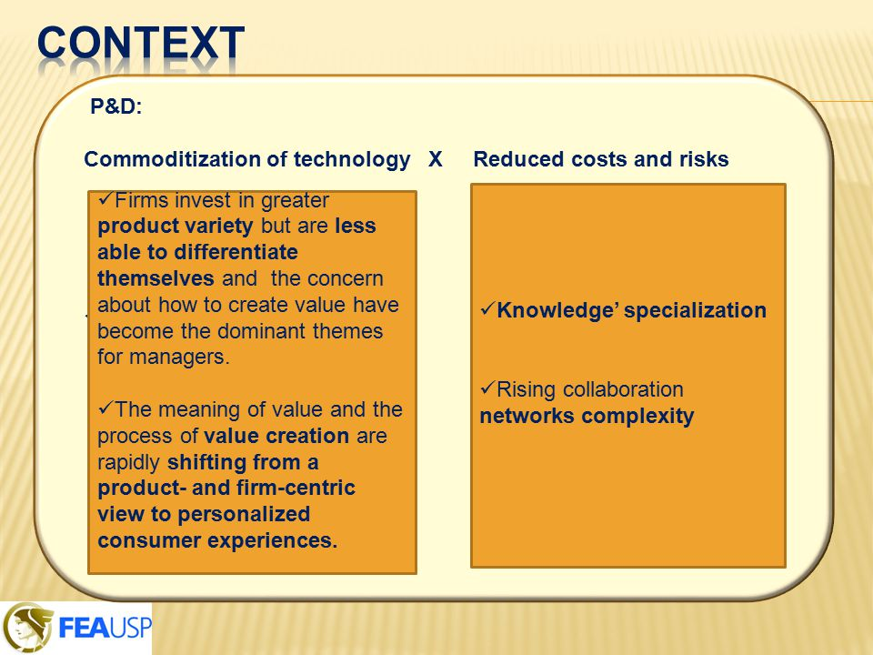 P&D: Commoditization of technology X Reduced costs and risks Knowledge' specialization Rising collaboration networks complexity Firms invest in greater product variety but are less able to differentiate themselves and the concern about how to create value have become the dominant themes for managers.