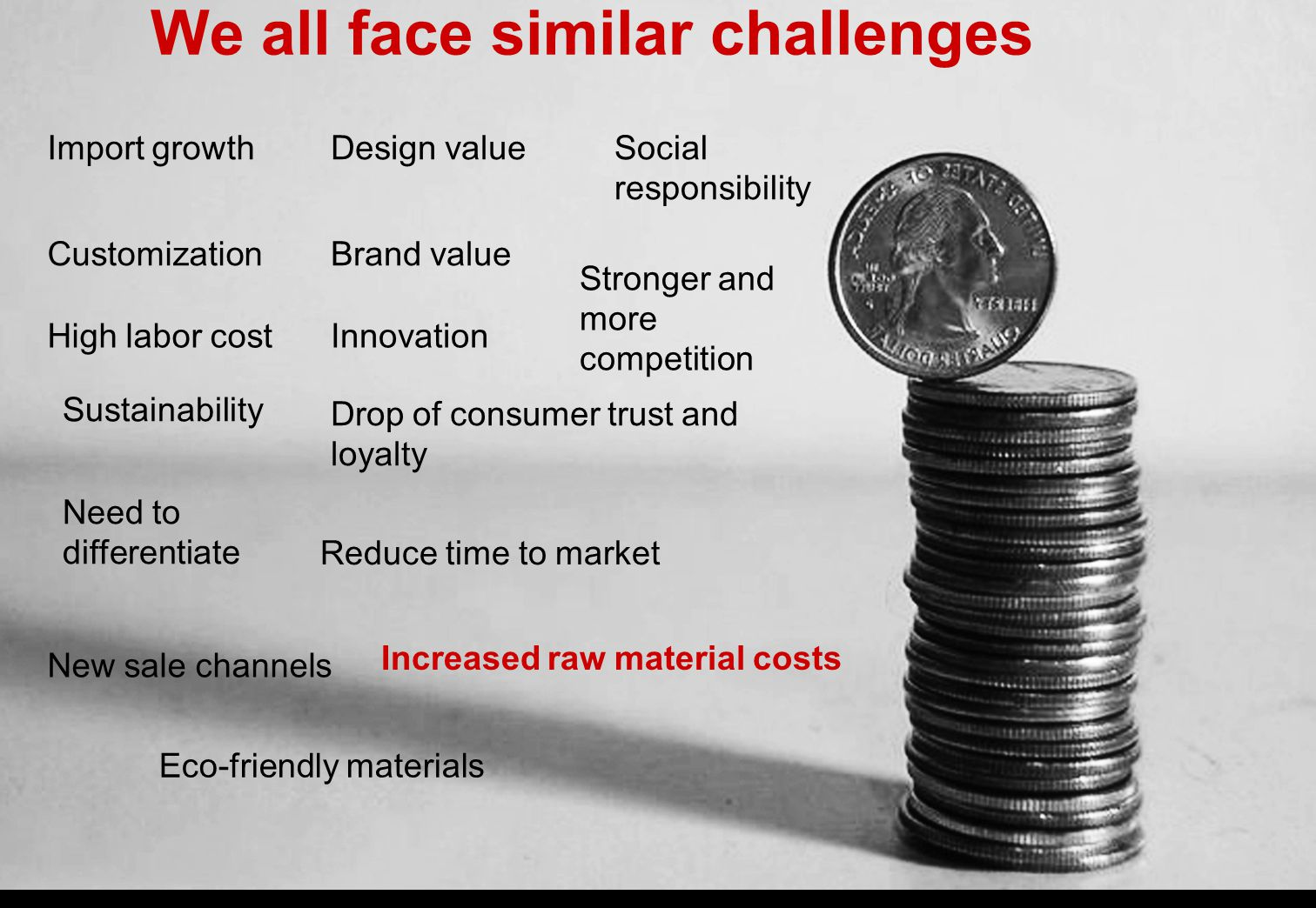 We all face similar challenges Import growth Stronger and more competition High labor cost Social responsibility Sustainability Increased raw material costs Need to differentiate Drop of consumer trust and loyalty Reduce time to market Design value Brand value New sale channels Innovation Eco-friendly materials Customization