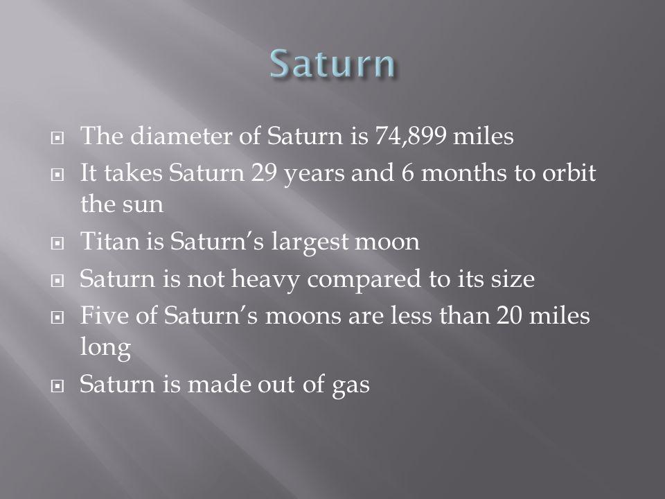 Jupiter Jupiter is 88,850 miles in diameter Jupiter is made out of gas It takes Jupiter 9 hours and 55 minutes to rotate Jupiter has three rings Jupiter has 16 moons
