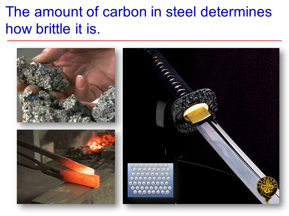 The amount of carbon in steel determines how brittle it is.