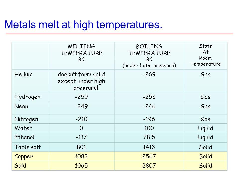Metals melt at high temperatures.