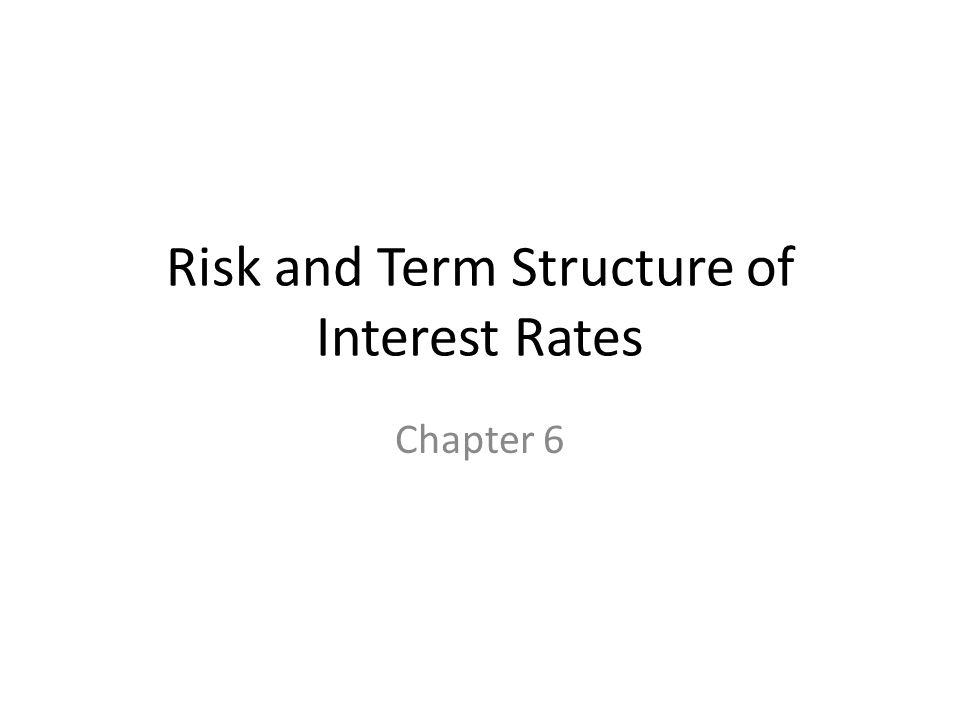 Risk and Term Structure of Interest Rates Chapter 6