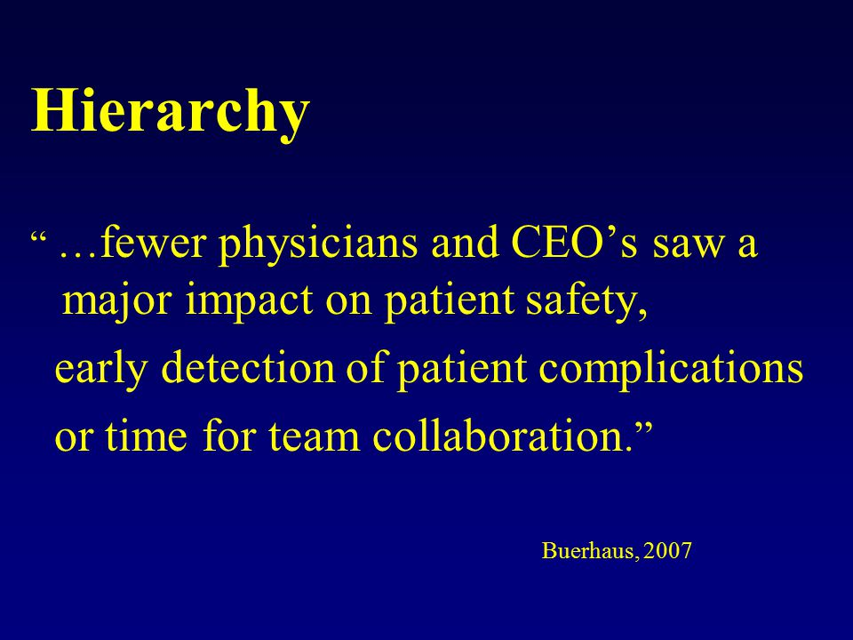 Hierarchy … fewer physicians and CEO's saw a major impact on patient safety, early detection of patient complications or time for team collaboration. Buerhaus, 2007