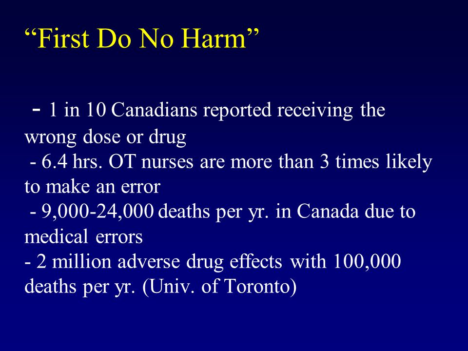 First Do No Harm - 1 in 10 Canadians reported receiving the wrong dose or drug - 6.4 hrs.