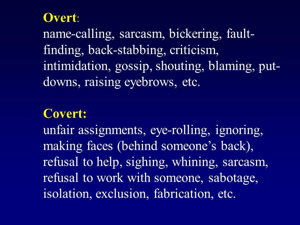 Overt : name-calling, sarcasm, bickering, fault- finding, back-stabbing, criticism, intimidation, gossip, shouting, blaming, put- downs, raising eyebrows, etc.