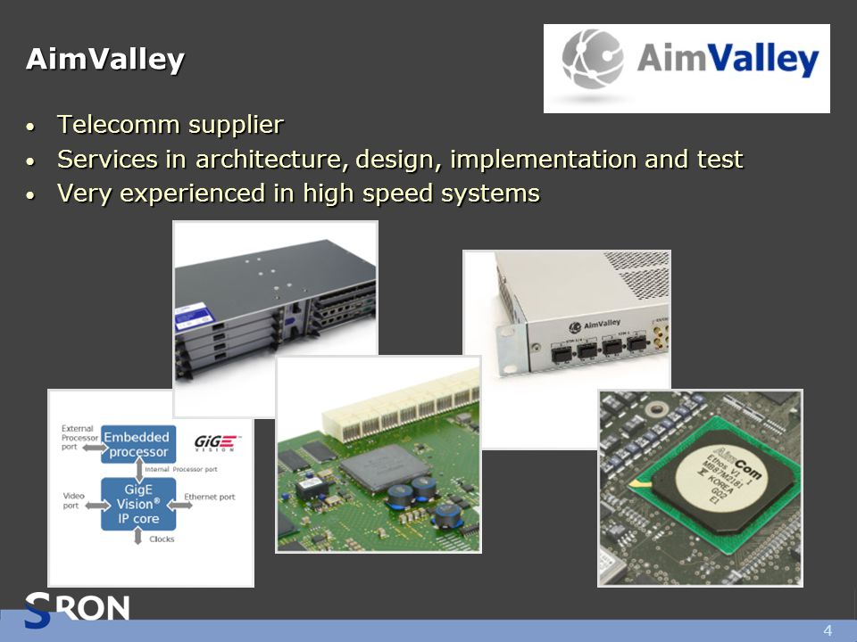 AimValley Telecomm supplier Telecomm supplier Services in architecture, design, implementation and test Services in architecture, design, implementati
