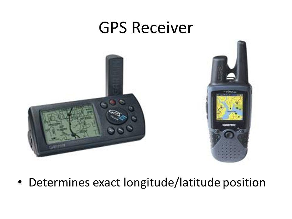 GPS Receiver Determines exact longitude/latitude position