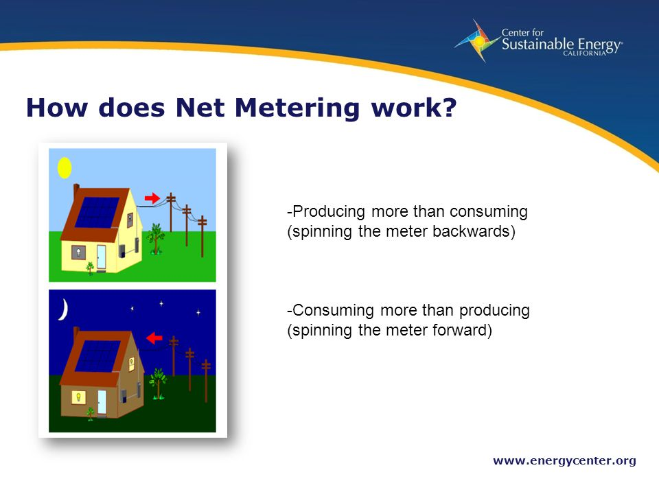 15 www.energycenter.org How does Net Metering work? -Producing more than consuming (spinning the meter backwards) -Consuming more than producing (spin