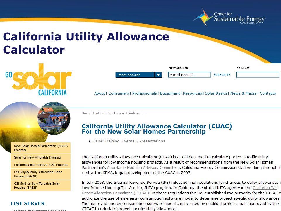 25 www.energycenter.org California Utility Allowance Calculator
