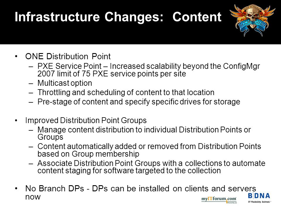 Infrastructure Changes: Content ONE Distribution Point –PXE Service Point – Increased scalability beyond the ConfigMgr 2007 limit of 75 PXE service points per site –Multicast option –Throttling and scheduling of content to that location –Pre-stage of content and specify specific drives for storage Improved Distribution Point Groups –Manage content distribution to individual Distribution Points or Groups –Content automatically added or removed from Distribution Points based on Group membership –Associate Distribution Point Groups with a collections to automate content staging for software targeted to the collection No Branch DPs - DPs can be installed on clients and servers now