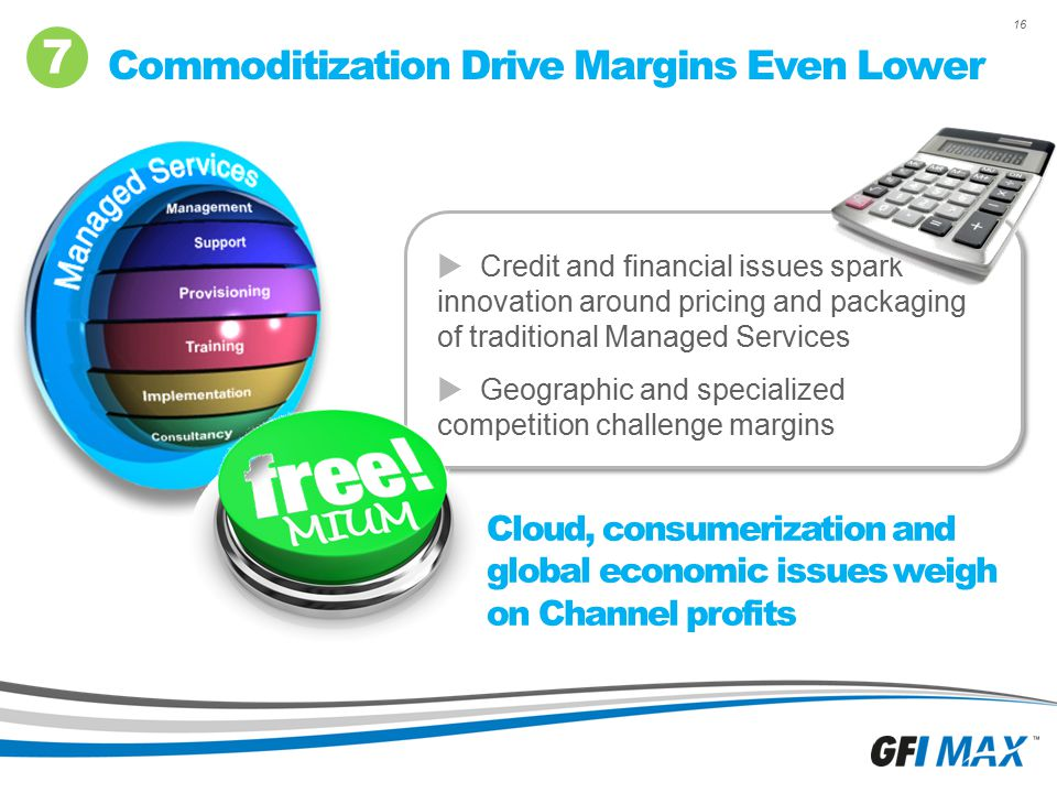 16 Commoditization Drive Margins Even Lower 7  Credit and financial issues spark innovation around pricing and packaging of traditional Managed Servi