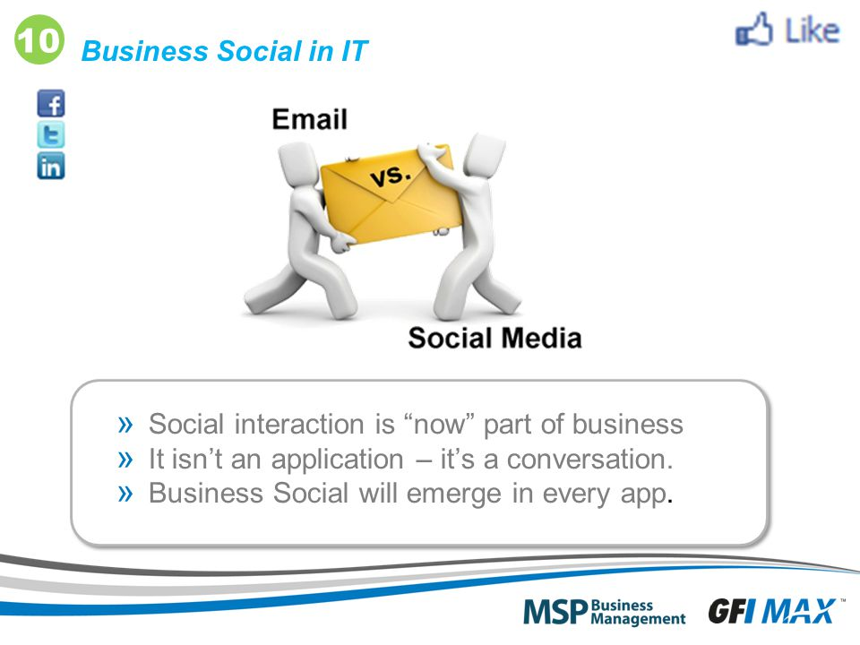 "20 Business Social in IT » Social interaction is ""now"" part of business » It isn't an application – it's a conversation. » Business Social will emerge"
