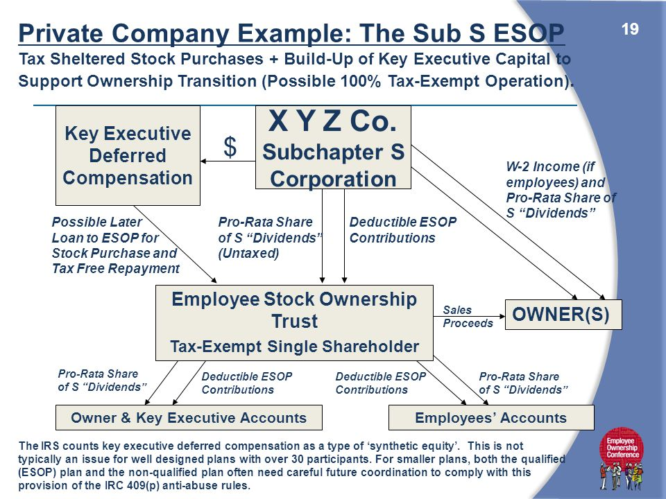 19 OWNER(S) Employee Stock Ownership Trust Tax-Exempt Single Shareholder Employees' AccountsOwner & Key Executive Accounts W-2 Income (if employees) and Pro-Rata Share of S Dividends Deductible ESOP Contributions Deductible ESOP Contributions Deductible ESOP Contributions Pro-Rata Share of S Dividends X Y Z Co.