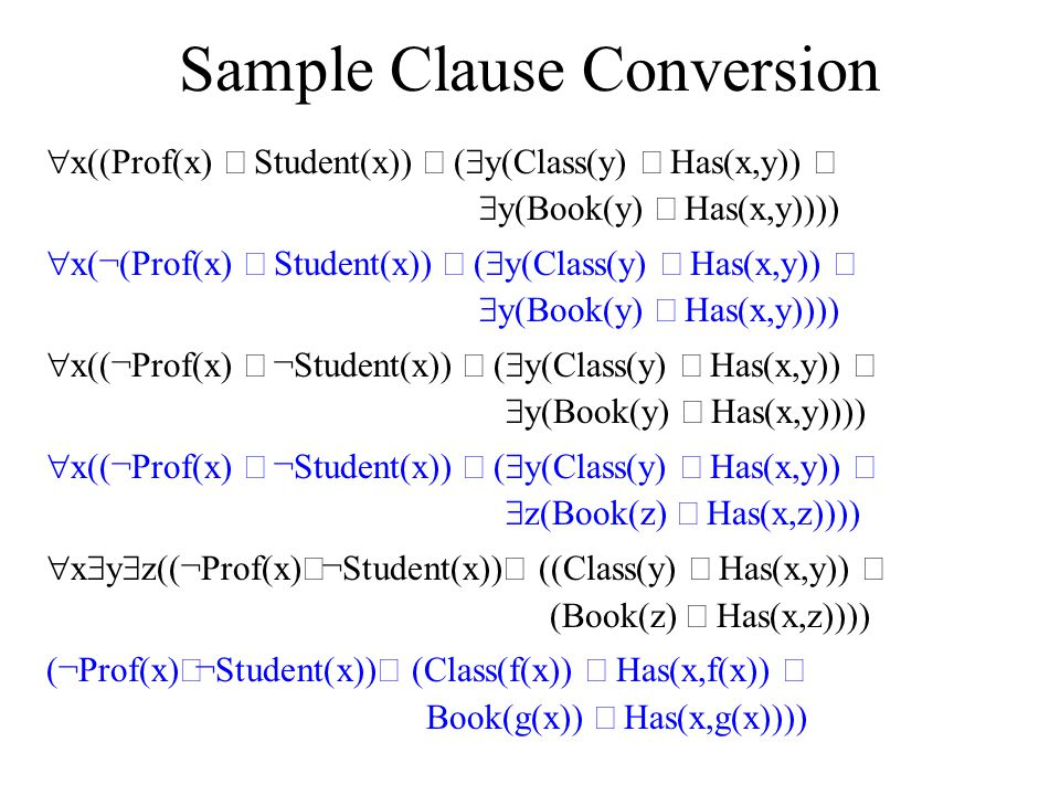 Sample Clause Conversion  x((Prof(x)  Student(x))   y(Class(y)  Has(x,y))   y(Book(y)  Has(x,y))))  x(¬(Prof(x)  Student(x))   y(Class(y
