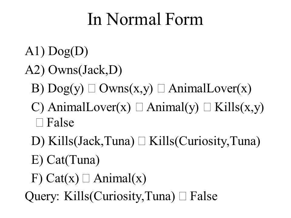 In Normal Form A1) Dog(D) A2) Owns(Jack,D) B) Dog(y)  Owns(x,y)  AnimalLover(x) C) AnimalLover(x)  Animal(y)  Kills(x,y)  False D) Kills(Jack,Tuna)  Kills(Curiosity,Tuna) E) Cat(Tuna) F) Cat(x)  Animal(x) Query: Kills(Curiosity,Tuna)  False