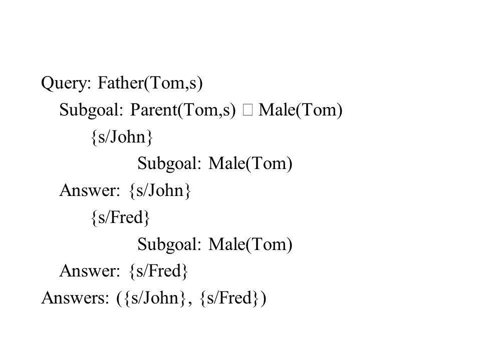 Query: Father(Tom,s) Subgoal: Parent(Tom,s)  Male(Tom) {s/John} Subgoal: Male(Tom) Answer: {s/John} {s/Fred} Subgoal: Male(Tom) Answer: {s/Fred} Answ