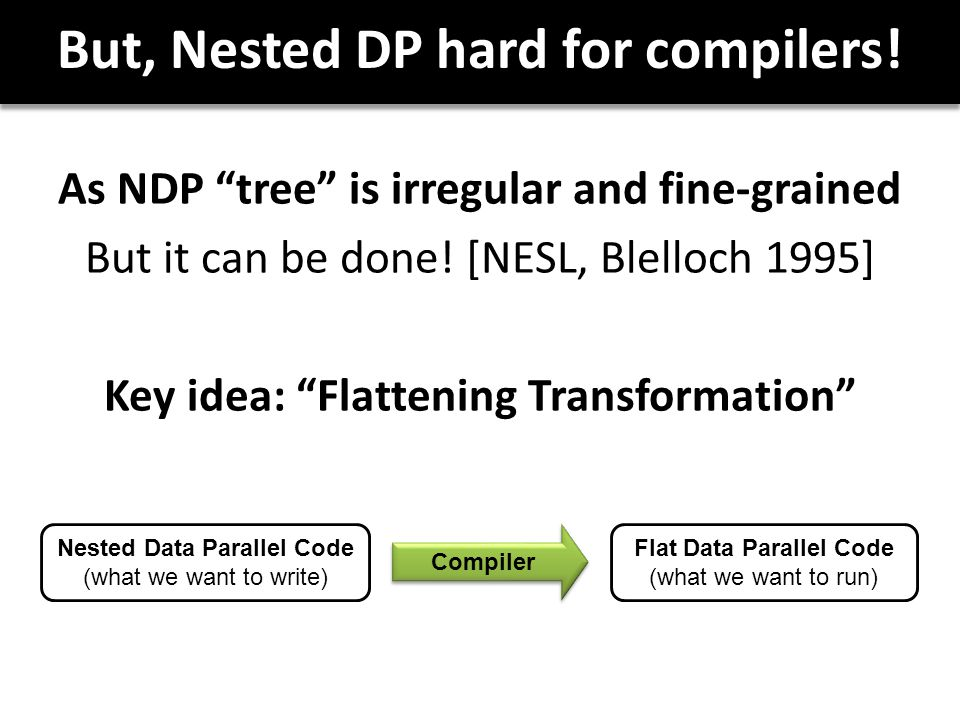 But, Nested DP hard for compilers. As NDP tree is irregular and fine-grained But it can be done.