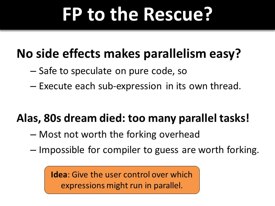 FP to the Rescue. No side effects makes parallelism easy.