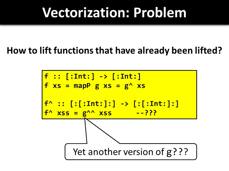 Vectorization: Problem How to lift functions that have already been lifted.