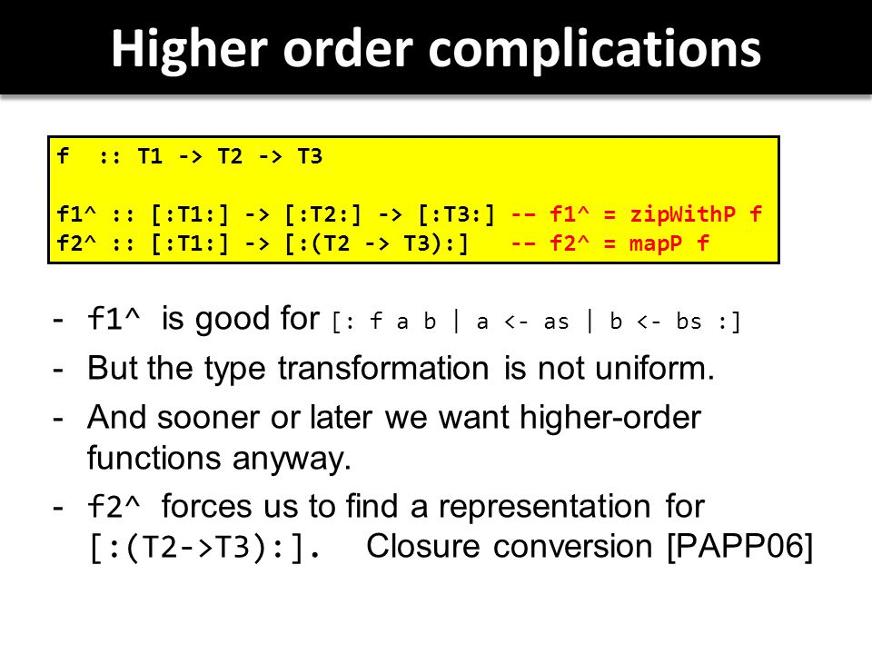 Higher order complications  f1^ is good for [: f a b | a <- as | b <- bs :]  But the type transformation is not uniform.