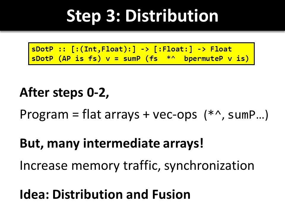 Step 3: Distribution After steps 0-2, Program = flat arrays + vec-ops ( *^, sumP …) But, many intermediate arrays.