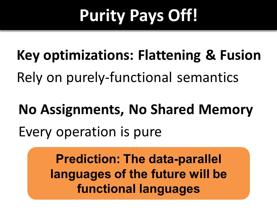 Purity Pays Off! Key optimizations: Flattening & Fusion Rely on purely-functional semantics No Assignments, No Shared Memory Every operation is pure P