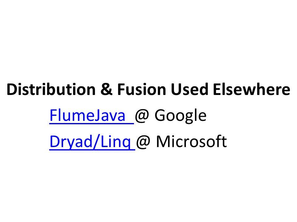 Distribution & Fusion Used Elsewhere FlumeJava @ GoogleFlumeJava Dryad/Linq @ MicrosoftDryad/Linq