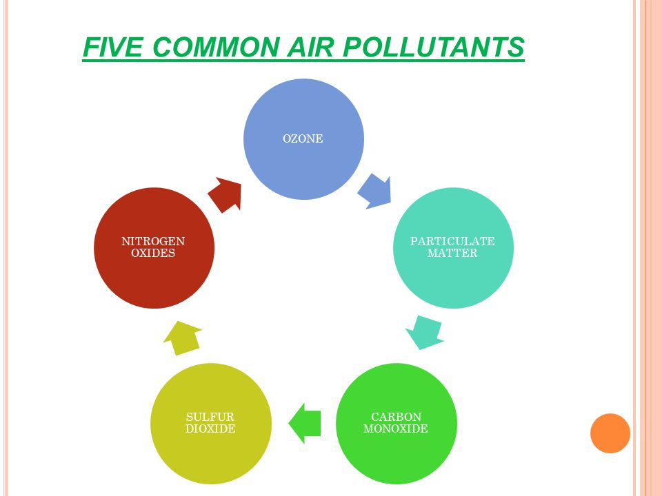 FIVE COMMON AIR POLLUTANTS OZONE PARTICULATE MATTER CARBON MONOXIDE SULFUR DIOXIDE NITROGEN OXIDES