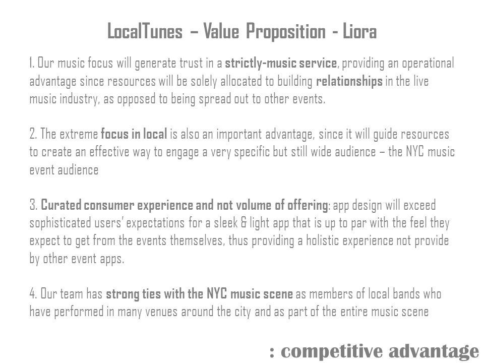 LocalTunes – Value Proposition - Liora 1.