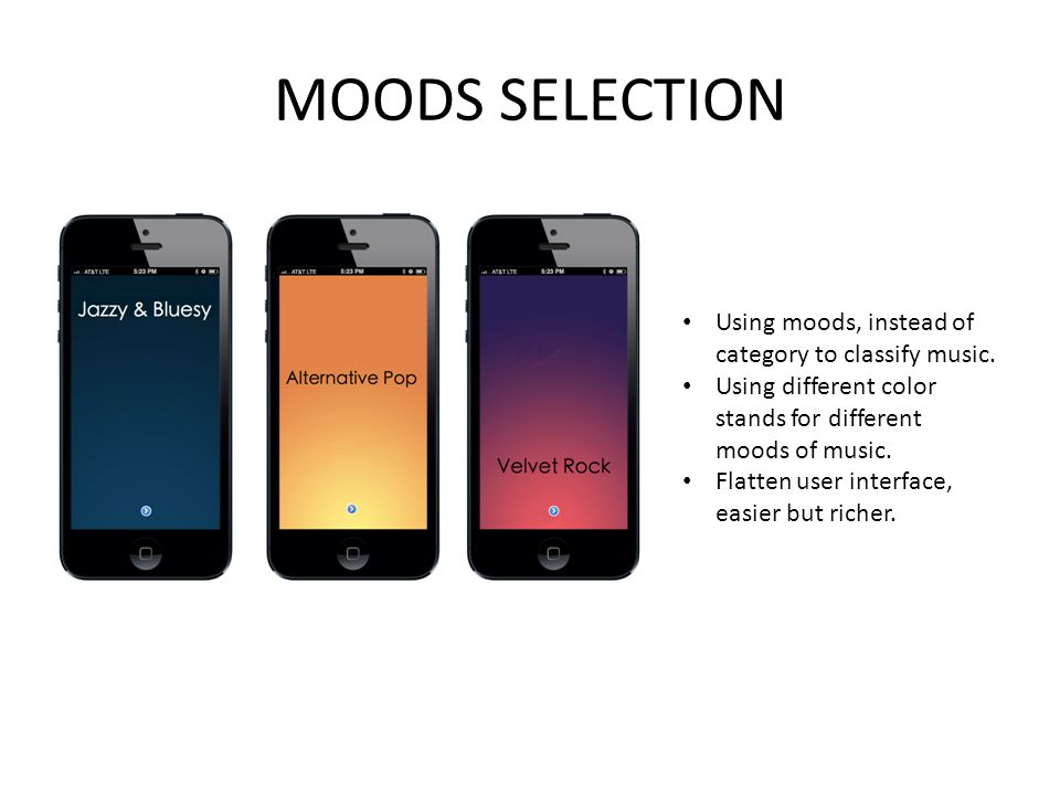 MOODS SELECTION Using moods, instead of category to classify music.