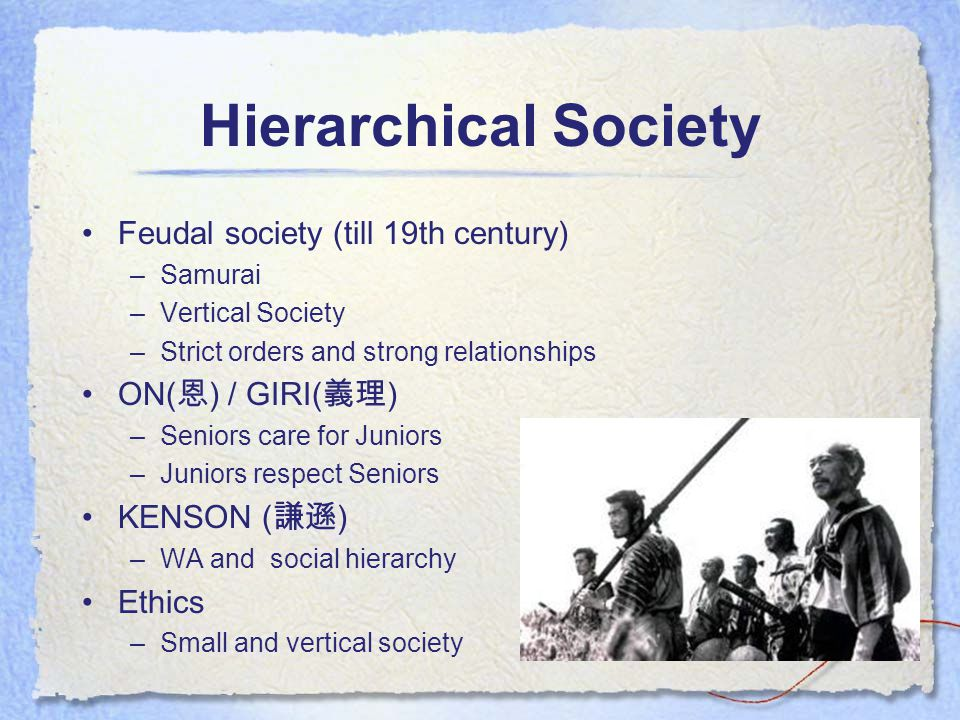 Hierarchical Society Feudal society (till 19th century) –Samurai –Vertical Society –Strict orders and strong relationships ON( 恩 ) / GIRI( 義理 ) –Seniors care for Juniors –Juniors respect Seniors KENSON ( 謙遜 ) –WA and social hierarchy Ethics –Small and vertical society