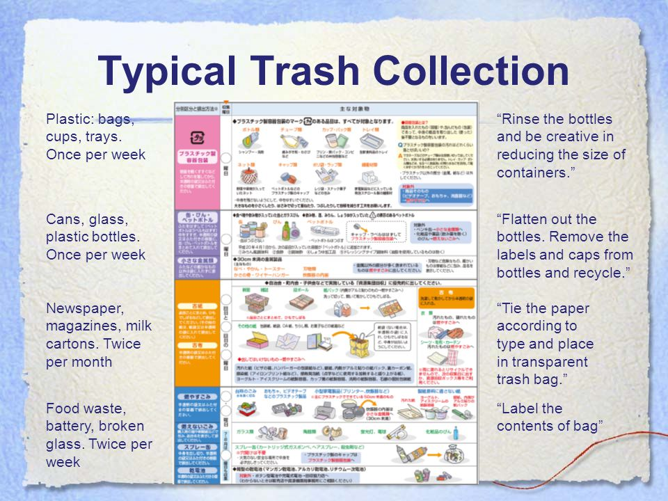 Typical Trash Collection Plastic: bags, cups, trays.