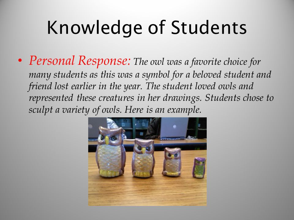 Knowledge of Students Personal Response: The owl was a favorite choice for many students as this was a symbol for a beloved student and friend lost earlier in the year.