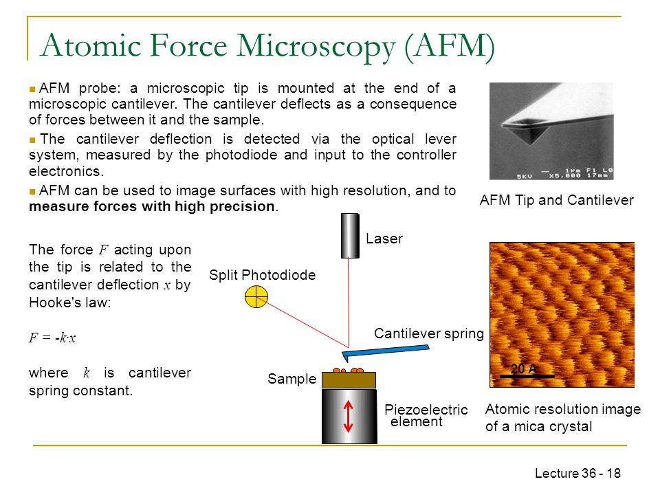 Lecture 36 - 18 Atomic Force Microscopy (AFM) AFM Tip and Cantilever Atomic resolution image of a mica crystal AFM probe: a microscopic tip is mounted at the end of a microscopic cantilever.